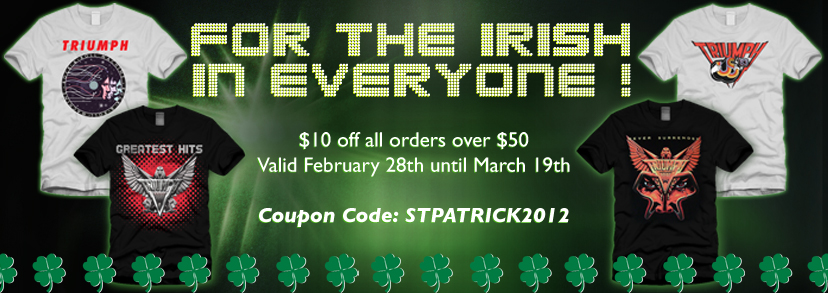 Triumph St. Patty's Promo banner